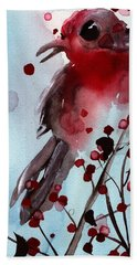 Red Finch In The Winterberry Bath Towel by Dawn Derman