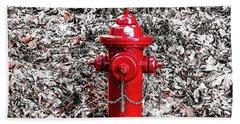 Red Fire Hydrant Bath Towel