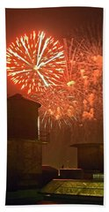 Red Fireworks Bath Towel