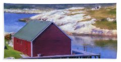 Red Fishing Shed On The Cove Bath Towel by Ken Morris