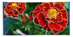 Hand Towel featuring the photograph Red Flower In Autumn by Joan  Minchak