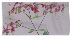Red Flower Vine Bath Towel by Hilda and Jose Garrancho