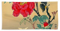 Red Flower With Bird 1870 Bath Towel by Padre Art