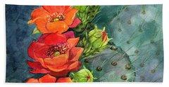 Red Flowering Prickly Pear Cactus Hand Towel