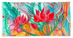 Hand Towel featuring the painting Red Flowers by Adria Trail