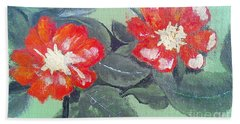 Red Flowers Hand Towel by Francine Heykoop