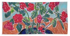 Red Flowers In Black Pot Hand Towel