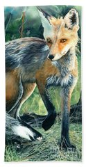 Bath Towel featuring the painting Red Fox- Caught In The Moment by Barbara Jewell