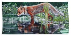 Red Fox Reflecting Hand Towel