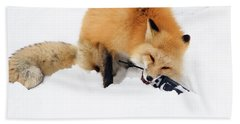 Red Fox To Base Hand Towel