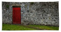 Hand Towel featuring the photograph Red Gate At Coole Park Estate by James Truett