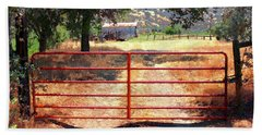 Bath Towel featuring the photograph Red Gate by Timothy Bulone