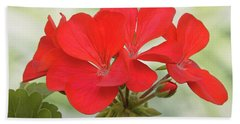 Red Geranium Bath Towel