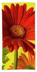 Red Gerbera Daisy 2 Hand Towel by Richard Rizzo