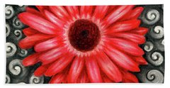 Red Gerbera Daisy Drawing Bath Towel