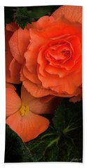 Red Giant Begonia Ruffle Form Hand Towel