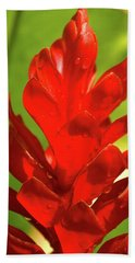 Red Ginger Bud After Rainfall Bath Towel by Michael Courtney