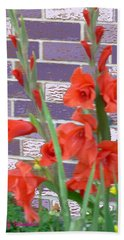 Red Gladiolas Hand Towel