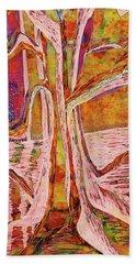 Red-gold Autumn Glow River Tree Bath Towel
