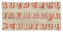 Red Gothic Font Bath Towel