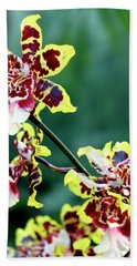 Striped Maroon And Yellow Orchid Bath Towel