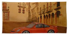 Red Gt3 Porsche Hand Towel