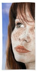 Red Hair And Freckled Beauty Version II Bath Towel by Jim Fitzpatrick