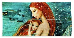 Red Hair Mermaid Mother And Child Hand Towel