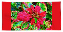 Red Hawaiian Poinsettia Bath Towel