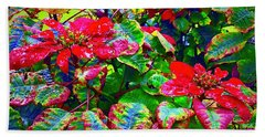 Red Hawaiian Poinsettias In Puna Bath Towel
