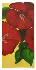 Red Hibiscus Bath Towel
