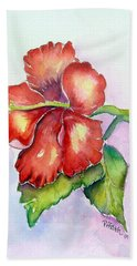 Bath Towel featuring the painting Red Hibiscus by Patricia Piffath