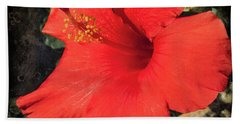 Red Hibiscus Hand Towel