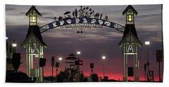 Red Horizon Thru The Boardwalk Arch Hand Towel