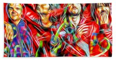 Red Hot Chili Peppers In Color II  Hand Towel by Daniel Janda