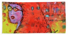 Bath Towel featuring the painting Red Hot Summer Girl by Claire Bull