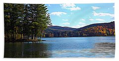 Red House Lake Allegany State Park In Autumn Expressionistic Effect Bath Towel