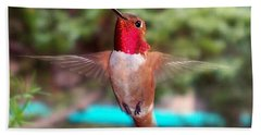 Hand Towel featuring the photograph Red Hummingbird by Joseph Frank Baraba
