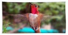 Red Hummingbird Hand Towel by Joseph Frank Baraba