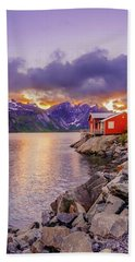 Red Hut In A Midnight Sun Bath Towel