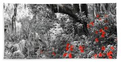 Bath Towel featuring the photograph Red In The Garden by Patti Whitten