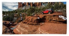 Red Jeep On The Rocks Bath Towel