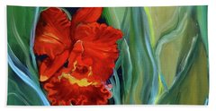 Red Jungle Orchid Bath Towel