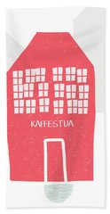 Hand Towel featuring the mixed media Red Kaffestua- Art By Linda Woods by Linda Woods