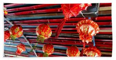 Hand Towel featuring the photograph Red Lanterns 3 by Randall Weidner