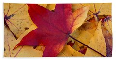 Red Leaf Hand Towel by Chevy Fleet