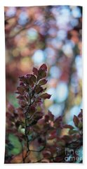 Red Leaves Abstract Hand Towel by Mike Reid