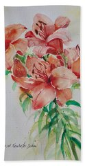 Red Lilies Bath Towel