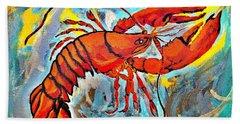 Red Lobster Abstract  Bath Towel by Scott D Van Osdol
