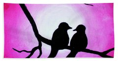Hand Towel featuring the painting Red Love Birds Silhouette by Bob Baker